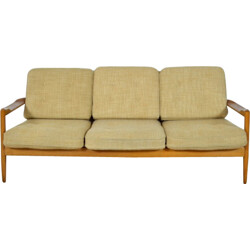 Danish 3-seater sofa in light wood and beige fabric - 1960s