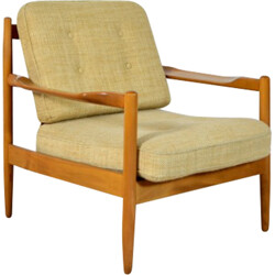 Danish armchair in light wood and beige fabric - 1960s