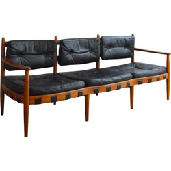 3-seater sofa in teak and black leather, Arne NORELL - 1960s