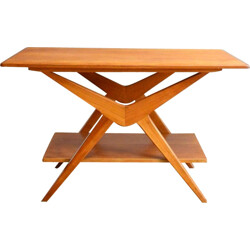 Coffee table in light wood with compas legs - 1960s