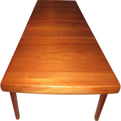 Large extendable dining table in teak, Ejvind A.JOHANSSON - 1960s