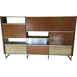 Large EFA wall cabinet in rosewood and aluminum, Georges FRYDMAN - 1950s