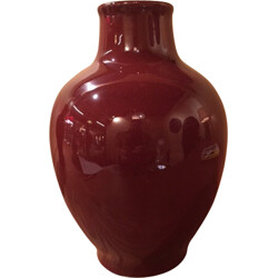 Mid-century vase in red ceramic, Pol CHAMBOST - 1970s