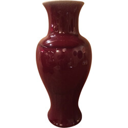 Vase in red and white ceramic, Pol CHAMBOST - 1970s
