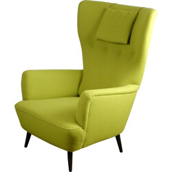 Austrian wingback armchair in walnut and green Kvadrat tissu - 1950s