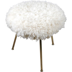 Small Austrian stool in brass and wool - 1950s