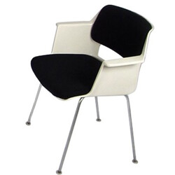 Gispen dining chair in white polyester and chromed steel, A. R. CORDEMEYER - 1960s