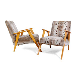 Pair of chairs in beech and faux fur - 1960s