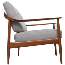 Knoll Antimott armchair in cherry wood and grey fabric - 1960s