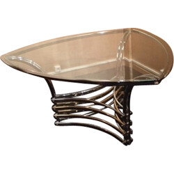 Italian triangle coffee table in glass and chromed steel - 1970s