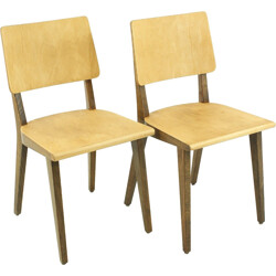 Pair of Horgen Glarus dining chairs in beech plywood - 1960s