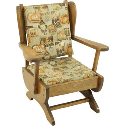 Children's rocking chair in solid beech and fabric - 1950s