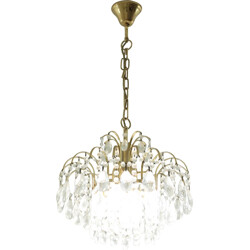 Mid-century chandelier in brass and glass - 1950s