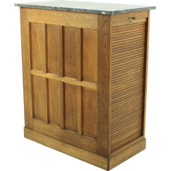French cabinet in oak and marble with tambour door - 1930s