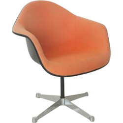Herman Miller armchair in fiberglass and orange fabric, Charles & Ray EAMES - 1960s