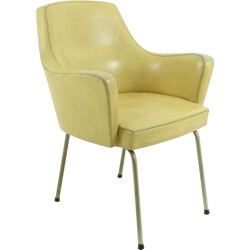 Mid-century armchair in yellow leatherette - 1950s
