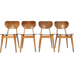 """Set of 4 Pastoe """"SB13"""" dining chairs in birch and plywood, Cees BRAAKMAN - 1950s"""