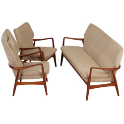 Bovenkamp living room set in teak and beige fabric, Aksel Bender MADSEN - 1960s