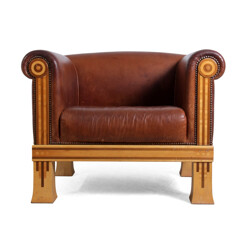 Vintage club chair in leather and sycamore, David LINLEY - 1980s