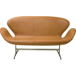 Cognac leather Swan sofa, Arne JACOBSEN - 1964