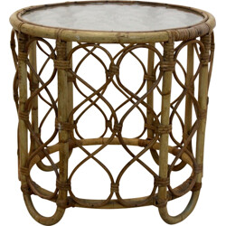 Dutch Rohé Noordwolde side table in wicker and glass - 1970s