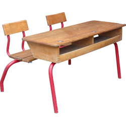 Mid century school desk with integrated chairs - 1950s