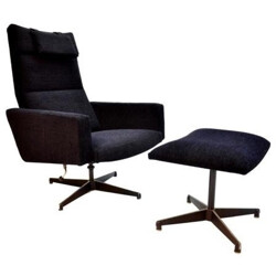 Re-upholstered lounge chair with its ottoman - 1960s