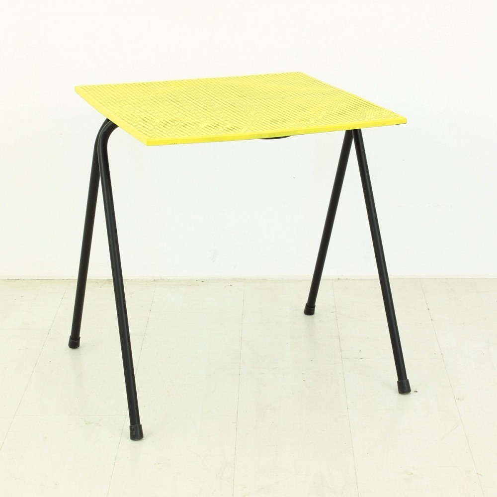 Small yellow side table in metal 1950s previous next