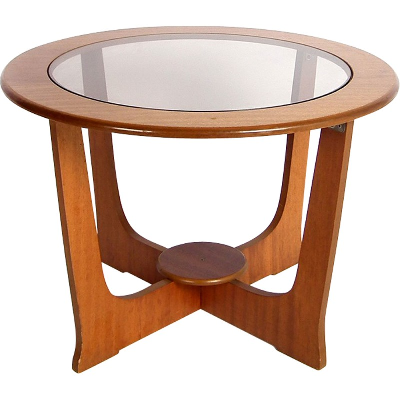 Tremendous Small Round Coffee Table In Teak And Light Brown Glass 1960S Home Interior And Landscaping Ologienasavecom