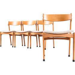 Set of 4 Scandinavian chairs in wood and fabric - 1960s