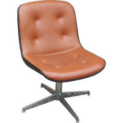 Swivel chair in leather, Randall BUHK - 1970s