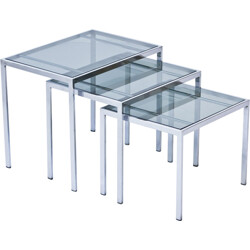 Set of 3 nesting tables in glass and metal - 1970s