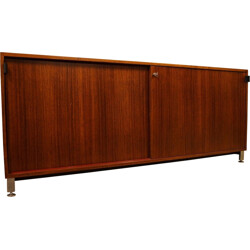 Mid century sideboard in walnut and leather, Florence KNOLL - 1960s