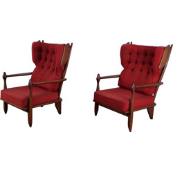 Pair of armchairs in oak, GUILLERME & CHAMBRON - 1960s