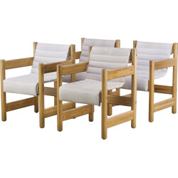 Set of 4 Danish dining chair in pine, FRIIS & MOLTKE - 1950s
