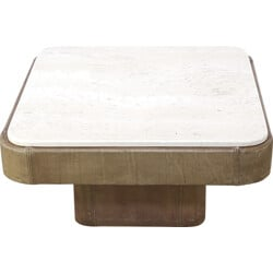 De Sede leather and travertine coffee table - 1970s