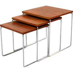 Set of 3 nesting tables in wood and metal - 1970s