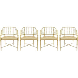 Set of 4 Italian chairs in solid wood and webbing - 1970s