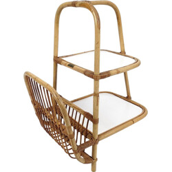 Side table with magazine rack in rattan - 1960s