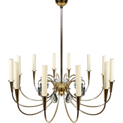 Mid-century chandelier in brass and smoked glass - 1960s