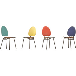 Set of 4 chairs in multicoloured vinyl - 1950s