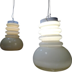 Pair of pendant lamps in glass - 1980s