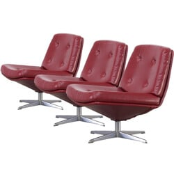 Set of 3 lounge chairs in red leatherette - 1960s