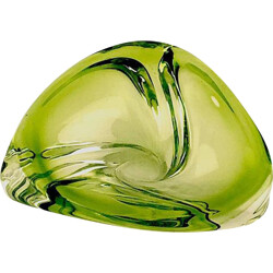 Daum ashtray in green crystal, Val SAINT LAMBERT - 1950s