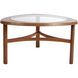Mid-century coffee table in teak and glass - 1950s
