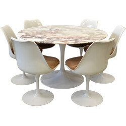 Set of Knoll table and 6 chairs in marble, Eero SAARINEN - 1970s