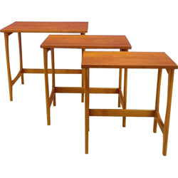 Set of 3 nesting tables in teak - 1950s