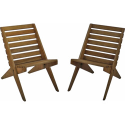 """Pair of """"Scissor"""" chairs in wood - 1950s"""