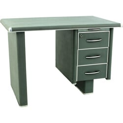 Mid-century desk in dark green metal - 1950s
