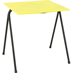 Small yellow side table in metal - 1950s